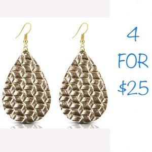 4/$25 Handmade gold weave leather dangle earrings